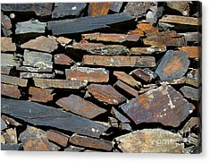 Acrylic Print featuring the photograph Rock Wall Of Slate by Bill Gabbert