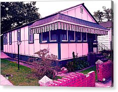 Rockaway Point Bungalow Pink And Blue Acrylic Print