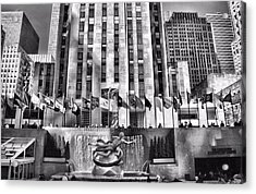 Rockefeller Center Black And White Acrylic Print by Dan Sproul