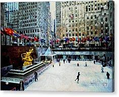 Rockefeller Center Ice Skaters Nyc Acrylic Print