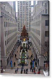 Rockefeller Plaza At Christmas Acrylic Print by Judith Morris