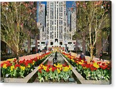 Rockefeller Plaza Acrylic Print by George Atsametakis