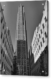 Ge Building In Black And White Acrylic Print