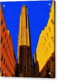 Rockefeller Plaza Pop Art Acrylic Print
