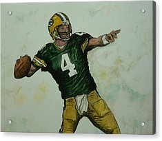 Acrylic Print featuring the painting Rocket Favre by Dan Wagner