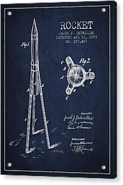 Rocket Patent Drawing From 1883 Acrylic Print