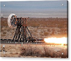Rocket-sled Test Acrylic Print by Nasa
