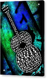 Rockin Guitar In Blue And Green Acrylic Print