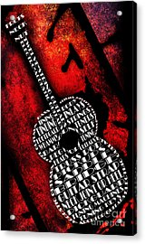 Rockin Guitar In Red Typography Acrylic Print by Andee Design