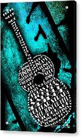 Rockin Guitar In Teal Acrylic Print