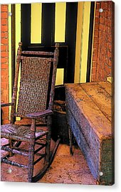 Rocking Chair And Woodbox Acrylic Print