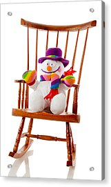 Acrylic Print featuring the photograph Happy Snowman Sitting In A Rocking Chair  by Vizual Studio