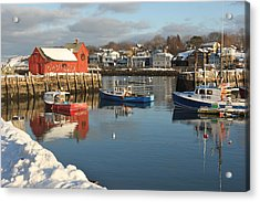 Rockport Harbor In Winter Acrylic Print by Gail Maloney