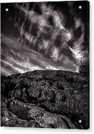 Rocks Clouds Water Acrylic Print by Bob Orsillo