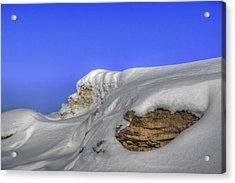 Rocks Covered With Snow Against Clear Blue Sky Acrylic Print