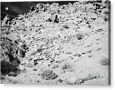 Rocks Forming Support For The Old Arrowhead Trail Road Valley Of Fire State Park Nevada Usa Acrylic Print by Joe Fox