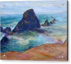 Rocks Heading North - Scenic Landscape Seascape Painting Acrylic Print