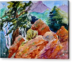 Rocks Near Red Feather Acrylic Print by Beverley Harper Tinsley