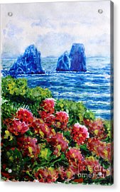 Rocks Of Capri Acrylic Print by Zaira Dzhaubaeva