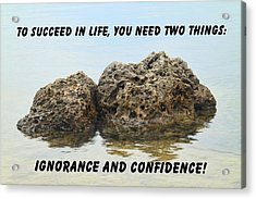 Rocks With Reflection Quote  Acrylic Print by Rudy Umans