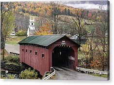 Rockwell Country - The Covered Bridge Of West Arlington Acrylic Print by Thomas Schoeller