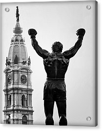 Rocky And Philadelphia Acrylic Print by Bill Cannon