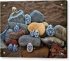 Rocky Faces In The Sand Acrylic Print