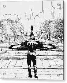 Rocky Is Philadelphia Acrylic Print by Bill Cannon