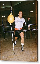 Rocky Marciano Striking Bag Acrylic Print by Retro Images Archive