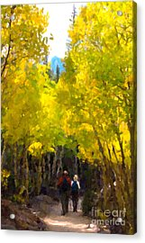 Rocky Mountain Hike Acrylic Print by Karen Lee Ensley