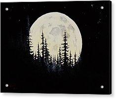 Rocky Mountain Moon Acrylic Print by C Steele