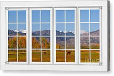Rocky Mountains Horses White Window Frame View Acrylic Print by James BO  Insogna