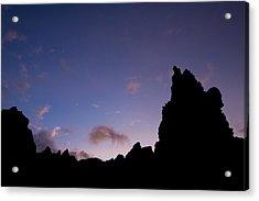 Rocky Purple Sunset Acrylic Print by Charmian Vistaunet