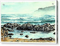 Acrylic Print featuring the painting Rocky Seashore by Heidi Kriel