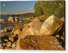 Rocky Shore At Sundown Acrylic Print by Charles Kozierok