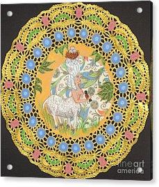 Rococo Sheep Girl Acrylic Print by Juliana Brandon