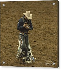 Rodeo Cowboy Dusting Off Acrylic Print by Janice Rae Pariza