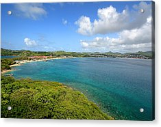 Rodney Bay Viewed From Fort Rodney - St. Lucia Acrylic Print by Brendan Reals