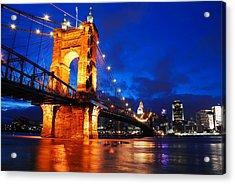Roebling Bridge Cincinnati Acrylic Print by James Kirkikis