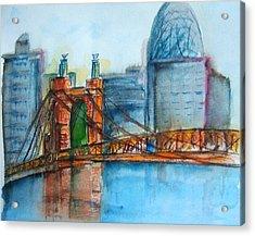 Roebling Bridge Near Dusk Acrylic Print by Elaine Duras