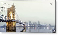 Roebling In The Fog Acrylic Print by Keith Allen
