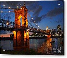 Roebling Suspension Bridge At Sunset Acrylic Print