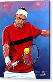 Roger Federer The Swiss Maestro Acrylic Print by Paul Meijering