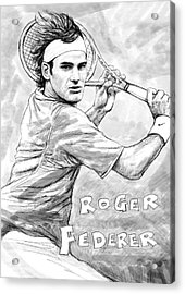 Roger Federer Art Drawing Sketch Portrait Acrylic Print by Kim Wang
