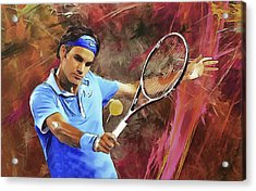 Roger Federer Backhand Art Acrylic Print by RochVanh