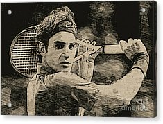 Roger Federer Acrylic Print by Blackwater Studio