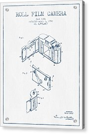 Roll Film Camera Patent From 1952- Blue Ink Acrylic Print