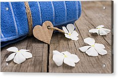 Rolled Up Towel And Paper Heart Acrylic Print by Aged Pixel