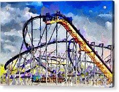 Roller Coaster Painting Acrylic Print by Magomed Magomedagaev