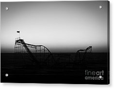 Roller Coaster Silhouette Black And White Acrylic Print by Michael Ver Sprill
